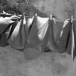 Wäscheleine mit Handtüchern, 1977